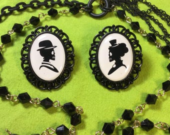 Victorian Skeleton Couple Black and White Cameo Zombie Love Stud Earrings