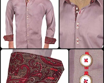 Brown with Red Paisley Men's Designer Dress Shirt - Made To Order in USA
