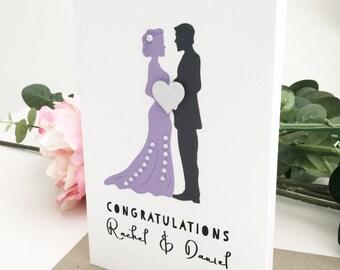 Wedding Congratulations Card, Lavender Wedding Card, Custom Wedding Gift, Personalised Wedding Gift for Couple, Unique Wedding Gift Ideas,