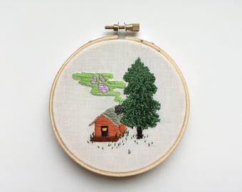 Haunted Cabin hand embroidery