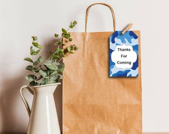 Gift Tags, Thank You Tags, Party Favor Tags, Present Tags, Camo, Blue Camo, Camoflage, Editable PDF, Printable, Instant Download T255A