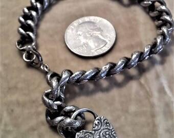 Victorian Sterling Silver Chain, Locked Heart Bracelet.
