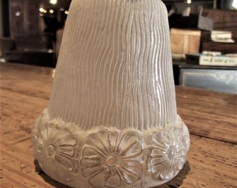 Vintage, White Frosted Floral Light Shade
