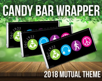 2018 Mutual Theme Candy Bar Wrapper Symbol Style. For LDS Young Women or Young Men. D&C 19:23. Peace in Me. Youth Conference. New Beginnings
