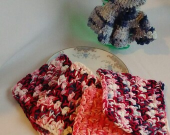 Crochet Washcloth, Dishcloth Cotton Washable Eco-friendly 4-pack Cloths House Warming Gift Bridal Shower Wedding Gift RTS Red White and Pink