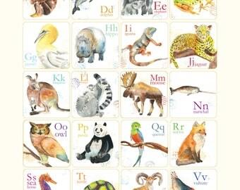 Abécédaire des animaux en anglais affiche Cathy Faucher illustration