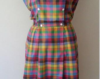 Rainbow dress, XS, S, M, plaid dress, checkered dress, cotton dress, summer dress, spring dress, gingham dress, gingham skirt