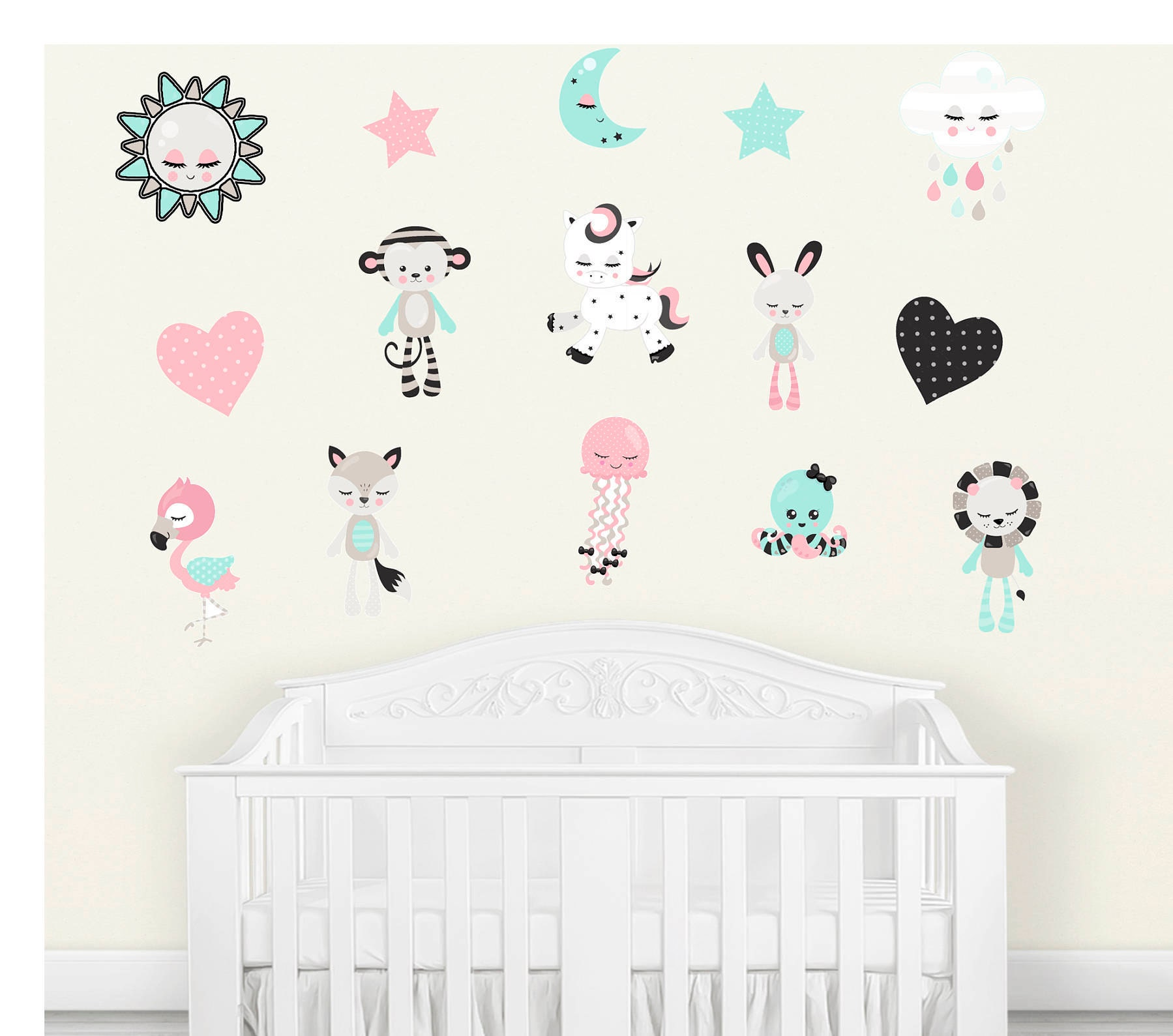 Nursery Animal Decals Nursery Wall Decal Baby Room Decal - Wall decals baby room
