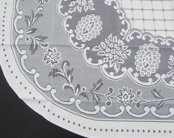 Vintage Oval Ivory Floral Lace Tablecloth/ Off White, Machine Filet  Crochet, Floral Lace