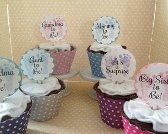 Baby Announcement, Baby Shower Cupcake Topper Decorations   Set Of 10
