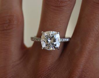 5 Carat (10mm) Cushion Forever One Moissanite & Diamond Engagement Ring 14k, 18k or Platinum, Moissanite Engagement Rings for Women 5ct Ring