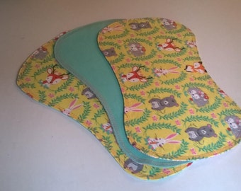 Yellow and Pink Woodland Baby Burp Cloths Burp Rags
