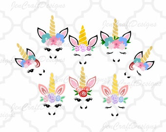 Unicorn svg, Unicorn face svg, Gold horn unicorn, Floral Unicorn eyelashes, SVG, DXF, unicorn face svg, Eps, Dxf, Png Cricut, Silhouette