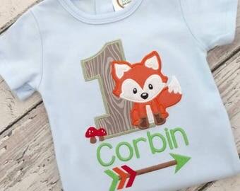 Woodland birthday shirt - first birthday shirt -fox birthday shirt - birthday bodysuit - woodland  birthday party - woodland animals