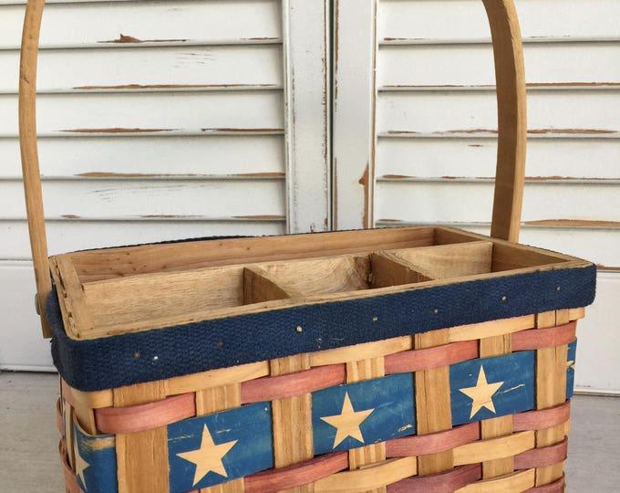 Wood Splint Divided Patriotic Basket