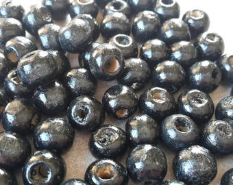 Round spacer beads, wood - 8 mm - black spacer bead