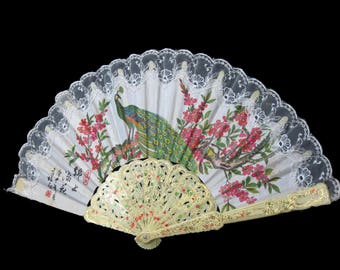 Asian Hand Held Folded Fan Peacock Decorated On Fabric Plastic Blades, Vintage 1960s