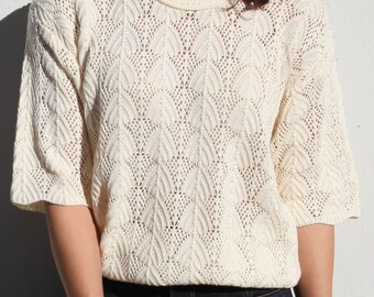 Vintage cream short sleeve lace knit top,blouse.one size