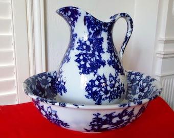 Large FLOW BLUE PITCHER & Wash Basin Vintage Stoneware Ewer and Bowl