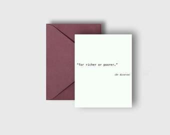 For Richer or Poorer Wedding Card