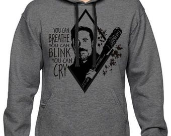 Men's Negan and Lucille The Walking Dead Pullover Hoodie Charcoal Hooded Sweatshirt