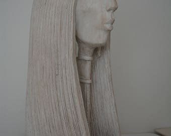 Ceramic Indian Maiden Head Sculpture  with base