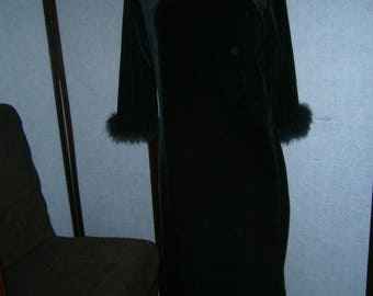 Women's Gown - Black Velour with Feather Trim