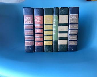 Vintage Book Set / Earth Tone Decor / 6 Book Set / Rainbow Colors / Modern Bookshelf Decor / Vintage Library / Old Books / Book Photo Props