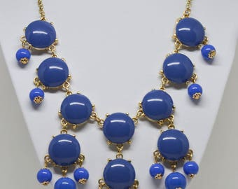 Charming Gold tone and Dark Blue Necklace