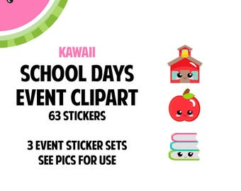 NEW! KAWAII School Days Event Clipart Regular Size   Track Teacher Conference, School Events, Class Projects   63 Die-Cut Stickers   CA182