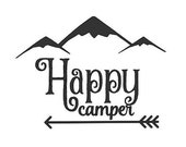 Happy Camper Vinyl Decal, Cell Phone Decal, Tablet Decal, Car Decal, Laptop Decal, Personalized, Customized