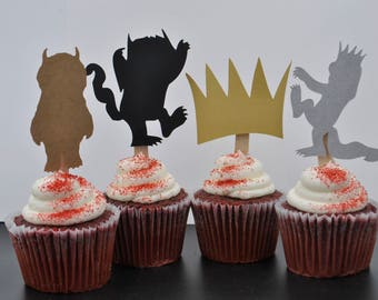 Where The Wild Things Are cupcake toppers, Wild One cupcake toppers, First Birthday cupcake topper, Where the Wild Things Are party supplies