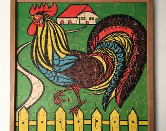 """Antonio Vitali wooden toy puzzle / jigsaw """"Rooster and Farm"""" / Very rare - Perfect Gift"""