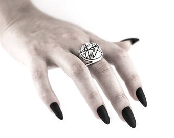 "Intenebris ""Sigil of the Gate"" Silver Signet Ring (Necronomicon) in sterling silver"