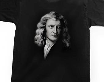 Airbrushed Portrait of Sir Isaac Newton T-shirt English physicist and mathematician in all sizes