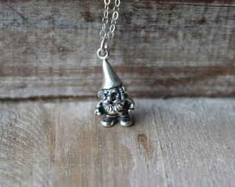 Garden gnome sterling silver 3d necklace
