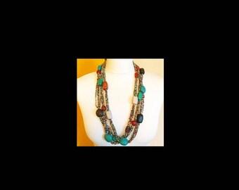 Vintage STYLE hippy hippie mod psych boho festival 60s 70s inspired beaded chunky statement necklace dress to impress!