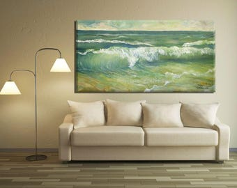 Blue Wall Art, Green Wall Art Canvas, Living Room Wall Art Painting, Oil Sea Painting, Sea Wall Art, Green Wall Decor, Blue & Green Painting