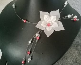 Party evening bridal necklace Pearl White, orange / coral and transparent flower silk wedding ceremony