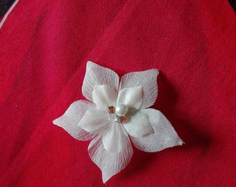 clip, barrette, hair flower ivory beaded silk ivory / Brown wedding party