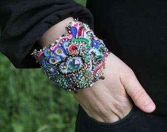 Colorful beaded bracelet / Crystal embroidered cuff soutache bracelet / Wide bracelet Evening Wear Jewelry / Wrist Cuff bracelet for her
