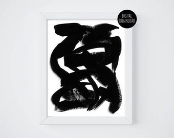 abstract black and white acrylic panting // 8x10 // printable digital download