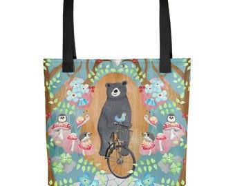 Bicycle Riding Bear Tote Bag   Bag   Studio Carrie   Gift