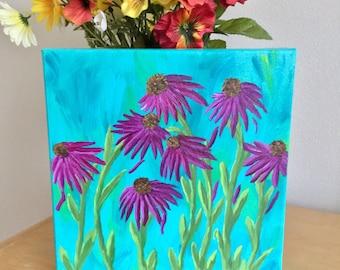 Purple Coneflower Painting - Flower Painting - Echinacea Flower Painting - Canvas Wall Hanging - Canvas Art - Gift For Her