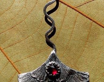 Natural Garnet, Ginkgo Leaf Fine Silver Pendant