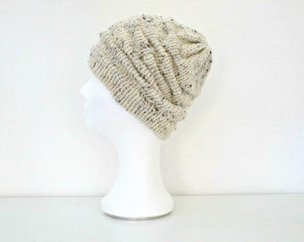 Knit beanie Off white knit hat Cream knit hat Slouchy beanie Hand knitted beanie Crochet knit beanie Chunky knit hat Wool cable hat knit cap