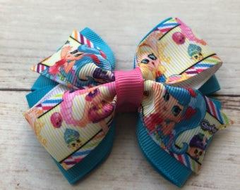 Shopkins Bow, Hair Bow, Bow for Girls, Toddler Bow, Shopkins Birthday, Birthday Bow, Girls Hair Bow, Shopkins Hair Bow