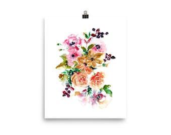 Large Watercolor Print - Flower Art,  Large Prints, Painted Floral, Fine art Print, Pantone 2018, Large Wall Art, Purple and Pink Art