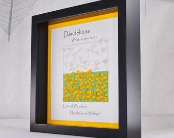 Dandelion wall art, dandelion picture, dandelion frame, dandelion wishes, dandelion decor, quirky gift, positive quote, quirky wall art