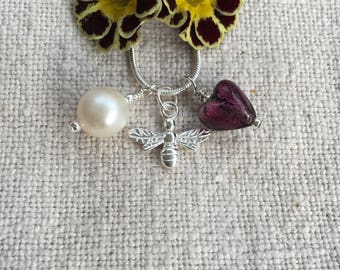 Diana Ingram 3-charm necklace with dark amethyst Murano glass mini heart (10mm), 925 silver honey bee & pearl on 925 silver chain. [Purple]